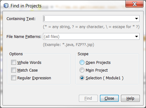 Find in Projects