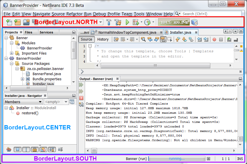 NetBeans IDE showing layout areas